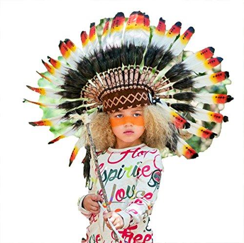 Sombrero de indio para niño / niña de 5 a 8 años, Gorro de Indio , Tocado de plumas