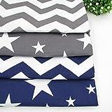 4pcs/lot 40cm * 50cm gris azul oscuro estrellas Chevron Impreso Tela de algodón para el hogar textil ropa de cama acolchado tejido para Patchwork