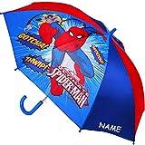 Unbekannt Regenschirm - AUTOMATIK -  Ultimate Spider-Man - Marvel  - inkl. Name - Kinderschirm Ø 80 cm / groß Stockschirm mit Griff - Kinder - Regenschirme - für Jung..