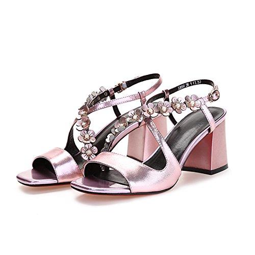 XY&GKDicker Absatz Sandalette High Heels Leder Blumen und Sandalen, komfortabel und schön 37 Pink