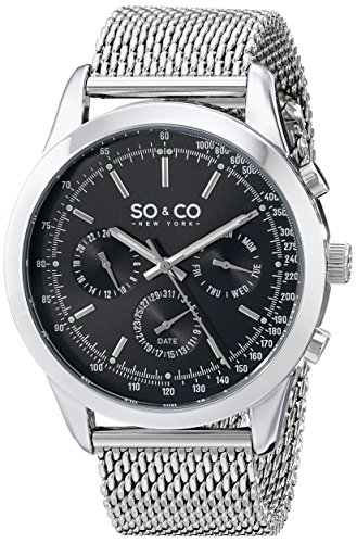 SO & CO New York Men's 5006A.1 Monticello Stainless Steel Tachymeter Watch with Mesh Band