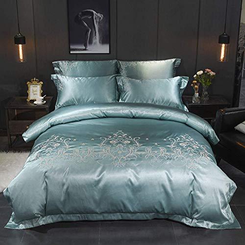 Bambus Baumwolle 4pcs Bettwäsche-Sets einfarbig Seide Bestickt Bettbezug Kissenbezug Bettlaken Twin Queen King Size