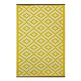 Green Decore 90 x 150 cm Wendbarer Öko-Teppich aus recyceltem Kunststoff (Plastik) für Innen und Außen/Federleicht, Gelb/Weiß
