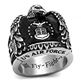 ISADY - US Air Force John - Bague Homme - Chevalière - Acier - Email Noir - «Aim...