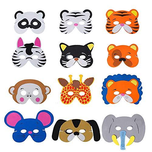 Safari Themen Kostüm Kinder - Losuya 12 x Dschungel Tier Masken Kinder Schaummaske Elastische Seil Geburtstag Bühnenleistungen Thema Party Favor Supplies