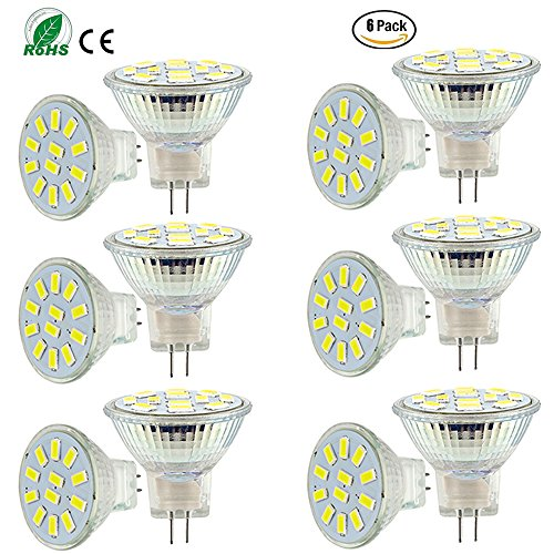 ei-home 6Pack Cool blanco 5733–12SMD LED bombillas, MR11GU4AC/DC 10–30V y # xFF0C; W, 15–20W lámpara halógena bombillas LED de repuesto, para iluminación del hogar, pantalla lightling, RV iluminación (intensidad no regulable)