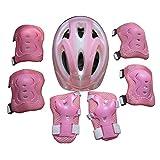 Likecom 7PCS Knieschoner Ellenbogenschoner Handgelenkschutz Helm Schutzset zum Draussen Rollschuhlaufen Inline Skates Skateboarding Radfahren für 5-13 Jahre alte Kinder -Rosa
