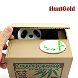 Huntgold Cute Panda Stealing Coins Cents Penny Buck Saving Money Box Pot Case Piggy Bank (Pack of One)