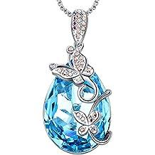 MEGA CREATIVE JEWELRY Collier Papillon pour Femme avec Cristaux de Swarovski  Larme Bleu 8e383896be66