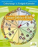 TimeTex Geburtstagskalender rund - Durchmesser 41 cm - 10763 - mit 72 Bildetiketten oval - Schüler-Geburtstagskalender - Das Jahr auf einen Blick mit eigenen Fotos gestalten