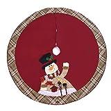 SEnjoyy 122cm Weihnachtsbaum Rock Jute Baumdecke große Weihnachtsbaum Boden Teppich Dekorationen Rot Schwarz Kariert Weihnachtsdeko