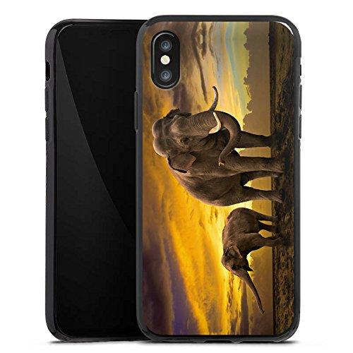 Apple iPhone X Silikon Hülle Case Schutzhülle Elefant Elefanten Rüsseltier Silikon Case schwarz