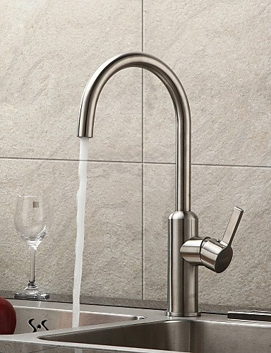 AI LI WEI Bathroom Furniture - Contemporary Brushed Chrome Finish Stainless Steel Kitchen Faucet