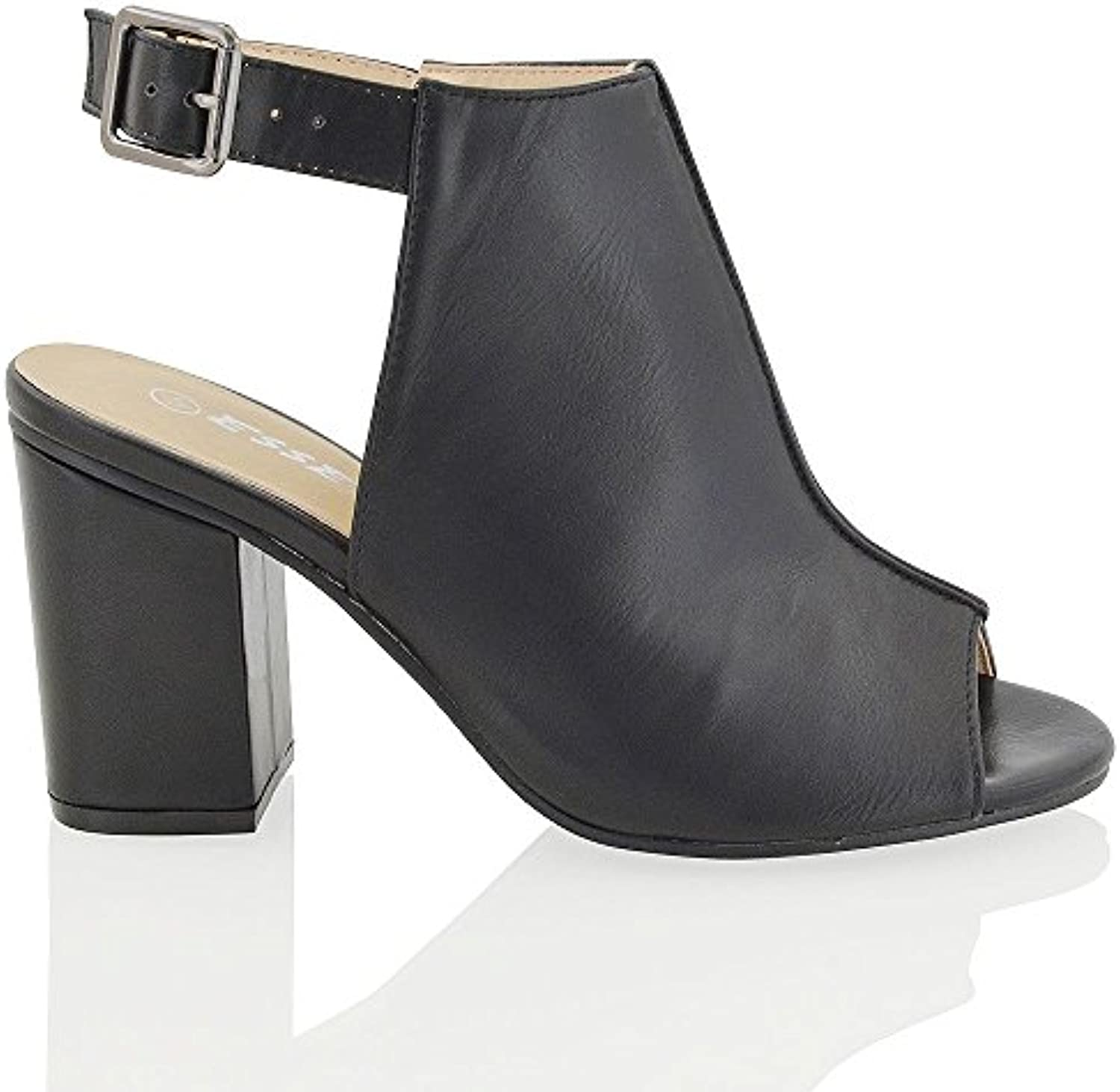 abaeff1e2f6 ESSEX GLAM Boots New Womens Mid Open Block Heel Peep Toe Shoe Open Back  Ladies Back Strap Ankle Boots Shoe B01G79URB4 Parent 0043fb0 -  www.bmlcreations.com