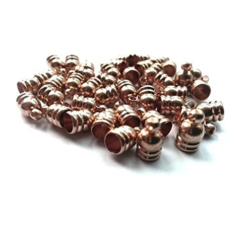 Pack of 30 x Rose Gold Plated Brass 6 x 9mm Kumihimo Bell-Shape End Caps - (HA11890) - Charming Beads