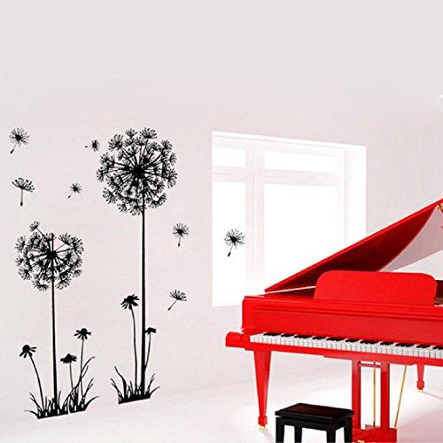 sticker-mural-transer-creative-pvc-pissenlit-fleur-plante-arbre-amovible-murale-autocollant-noir