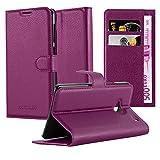Cadorabo Hülle für HTC One M7 (1. Gen.) Hülle in Mangan Violett Handyhülle mit Kartenfach und Standfunktion Case Cover Schutzhülle Etui Tasche Book Klapp Style Mangan-Violett
