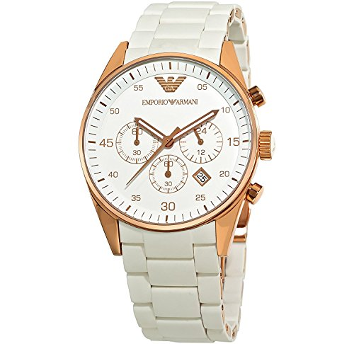 Mujer EMPORIO ARMANI ar5920blanco oro rosa Sportivo reloj