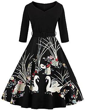 Botomi Donna Elegante Cigno Modello Slim Vintage Degli anni '50 il Vestito Della Festa con Cintura, 01.S Black...