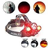Boruit RJ-1155 Linterna Frontal Lámpara de Cabeza con la luz roja 3 Modos 6000 Lúmenes que Hace Buena Luz Correr Frontal Bastante Ligero con EU Cargador, Dos Baterías, Usb Cable, Cargador de Coche [Clase de eficiencia energética A+]