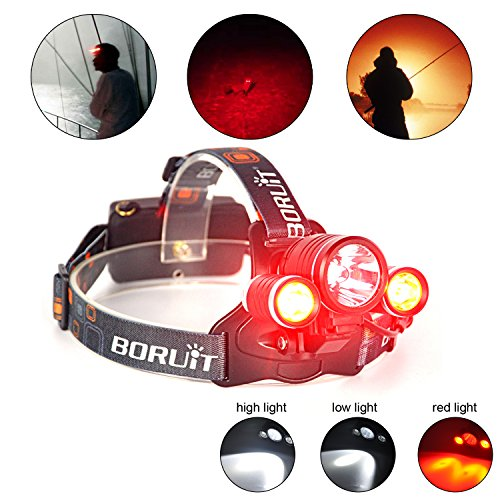 Boruit RJ-1155 Led Stirnlampe mit Rotlicht - Jagd Rot Kopflampe - Rote Rücklicht - 3 Modi 3* T6 Superheller 5000 lumen LED Kopflampe Stirnlampe für Fahrrad Lampe Camping Jogging Wandern