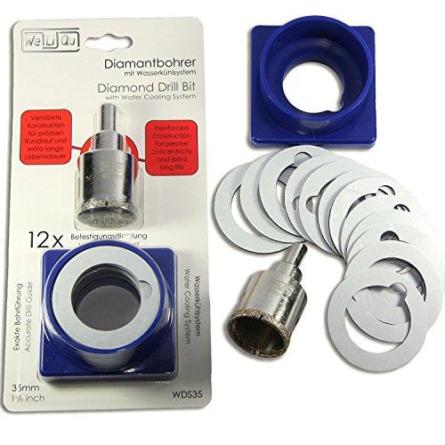WeLiQu 35 mm Diamant-Lochsäge mit Führung und Kühlung | Für die Küchenarmatur bei Küchenspülen und Löcher in Granit, Marmor, Keramik, Glas, Schiefer, Fliesen und Feinsteinzeug | WDS35