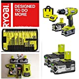 Ryobi Cordless 18V Li-Ion Hammer Drill 2 Batteries LLCDI18-LL40S with FREE 40 Piece Mixed Ryobi accessory set, EXCLUSIVE HOLYWELLS TOOLS MEGA DEAL