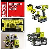 Ryobi Cordless 18V Li-Ion Hammer Drill 2 Batteries LLCDI18-LL40S with FREE 40 Piece Mixed Ryobi accessory set, EXCLUSIVE HOLYWELLS TOOLS MEGA DEAL