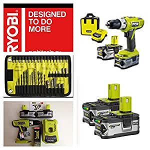 ryobi sans fil 18 v li ion 2 piles pour marteau perforateur llcdi18 ll40s avec un assortiment de. Black Bedroom Furniture Sets. Home Design Ideas
