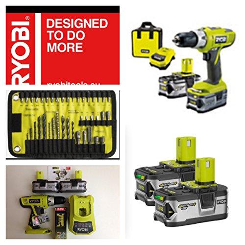 Schnurloses Ryobi 18 V Li-Ion 2 Batterien Hammerbohrer LLCDI18-LL40S mit gratis 40 Stücke verschiedene Ryobi Zubehörset, exklusive MEGA DEAL HOLYWELLS Werkzeuge Ryobi 18 Volt Drill Battery