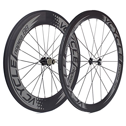 VCYCLE Nopea Carbon Road Bike Wheels 700C Tubular Front 50mm Rear 88mm Shimano or Sram 8 / 9 / 10 / 11 Speeds