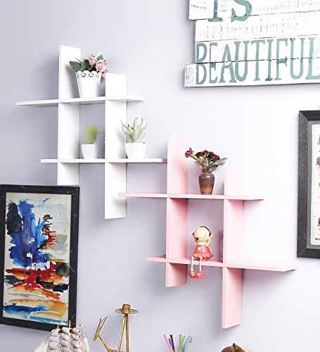Onlineshoppee White & Pink MDF Wall Shelves - Set of 2