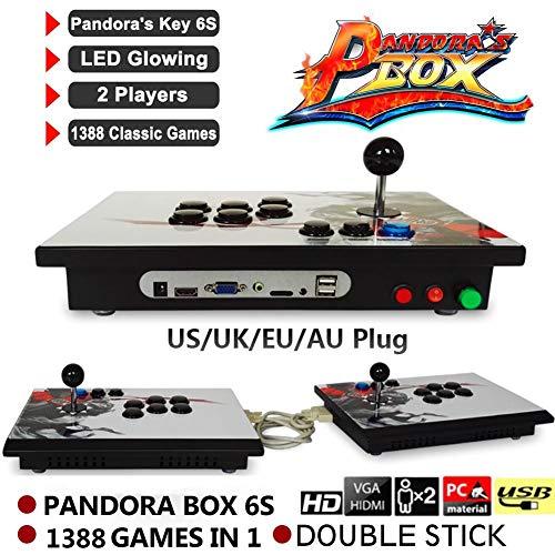 Waroomss Pandora\'s Box, Doppelstock Split Arcade Konsole, Retro Videospiele Doppelstock Arcade Konsole, 1388 Klassische Spiele in 1 Pandoras Box Arcade
