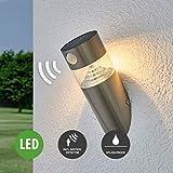Lampenwelt LED Solarleuchte außen mit Bewegungsmelder (spritzwassergeschützt) (Modern) in Alu aus Edelstahl (1 flammig, A+, inkl. Leuchtmittel) | Solar-Wandleuchten, Wandlampe für Outdoor & Garten Außenwand/Hauswand, Haus, Terrasse Balkon