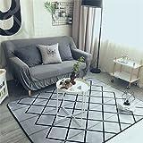 GRENSS Mode Moderne Geometrische Grauer Haken Wohnzimmer Schlafzimmer dekorativen Teppich Teppich Boden im Badezimmer Yoga Baby Krabbeln Spielteppich, grau, 50 x 70 cm 19 x 27 Zoll