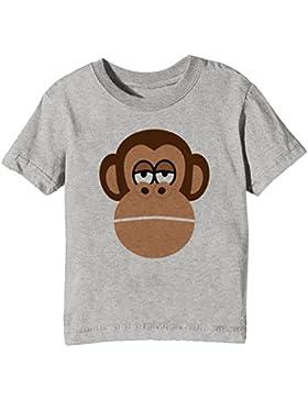 Chimpancé Niños Unisexo Niño Niña Camiseta Cuello Redondo Gris Manga Corta Todos Los Tamaños Kids Unisex Boys...