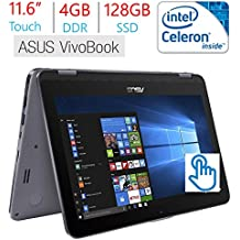 "2018 Business Newest Asus VivoBook Flip 11.6"" Touchscreen 2-in-1 Laptop/Tablet, Intel Celeron N3350, 4GB RAM, 128GB Solid State Drive, WiFi, Fingerprint Reader, Stylus Pen, Windows 10 Home"