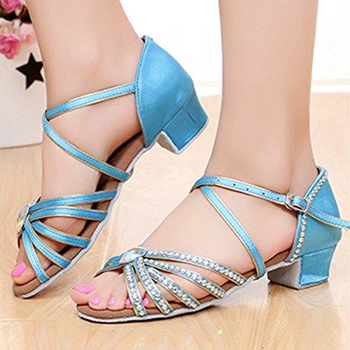 Azbro Girl's Rhinestone Low Heels Latin Dance Shoes Sky Blue