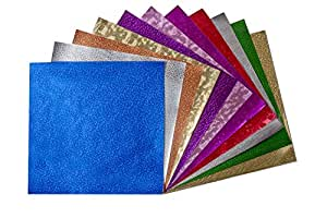 """Hygloss 26486 Specialty Embossed Metallic Foil Paper 12"""" X 12"""" 50 Sheets Asst Colors & Designs,"""