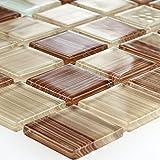 Gestreifte Kristall Glas Mosaik Fliese Braun Beige Mix