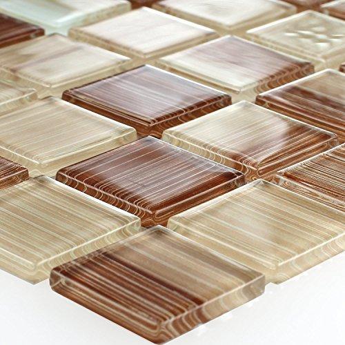 Gestreifte Kristall Glas Mosaik Fliese Braun Beige Mix (Gestreifte Boden-matte)