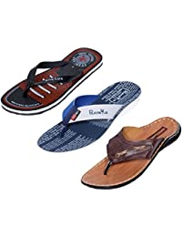 Indistar Men Flip Flop House Slipper And Sandal-White/Tan/Black- Pack Of 3 Pairs