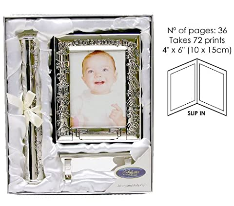 Christening Day Photo Album and Certificate Holder with Stand Gift Set