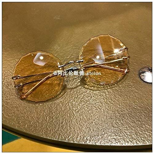 BJYG Neuer Trend ohne Grenze allmählich ändernde Tee Farbe Spiegel Semitransparent und Mode weibliche Scheibe rundum Flut