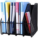 JD9 Metal Mesh 4 Compartments File Rack Paper Holder Desktop File Holders Organizers Document Cabinet Rack Display and Storage Organizer Box for Documents, Magazines, Note (Black)