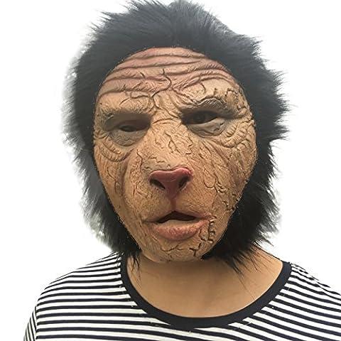 Löwen Mann Löwenmann mit Haaren Löwe Lionman Tier Maske mask Kopf aus sehr hochwertigen Latex Material mit Öffnungen an Augen Halloween Karneval Fasching Kostüm Verkleidung für Erwachsene Männer und Frauen Damen Herren gruselig Grusel Zombie Monster Dämon Horror Party