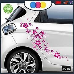Idea Regalo - Adesivi per Auto - Fiori E Farfalle- Auto Macchina - novità!! Auto Moto Camper, Stickers, Decal (Fucsia)