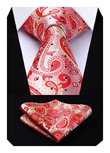 Hisdern Herren Krawatte Hochzeit Blumen Paisley Krawatte & Einstecktuch Set Rot Rosa -