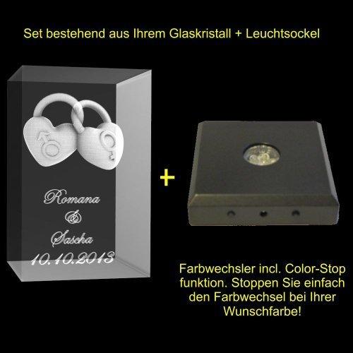 VIP-LASER 3D Glaskristall 2 Liebeschlösser mit Wunschtext und Wunschdatum graviert! Ihr persönliches Liebesgeschenk persönlich für die Ewigkeit graviert! (mit 5 LED Leuchtsockel Schwarz)