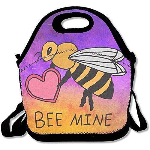 Bee Mine Lunchtasche aus Neopren mit Schulterriemen für Damen, Teenager, Mädchen, Kinder, Erwachsene (Bee Milch)